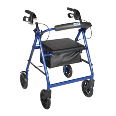 R728BL - Drive MedicalBlue Rollator Walker w/Fold Up Removable Back Support Padded Seat