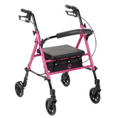 DRVRTL10261BC - Drive MedicalBreast Cancer Awareness Adjustable Height Rollator