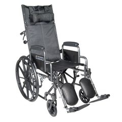 SSP18RBDDA - Drive MedicalSilver Sport Reclining Wheelchair with Elevating Leg Rests