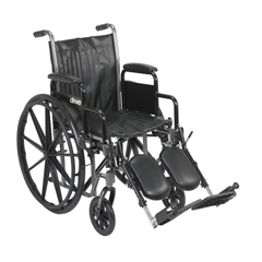 SSP218DDA-ELR - Drive MedicalSilver Sport 2 Wheelchair w/Detachable Desk Arms & Elevating Leg Rest, 1EA/CS