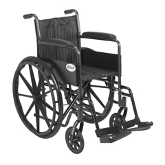 SSP218FA-SF - Drive Medical - Silver Sport 2 Wheelchair, Non Removable Fixed Arms, Swing away Footrests, 18 Seat