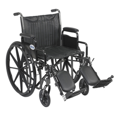 SSP220DDA-ELR - Drive MedicalSilver Sport 2 Wheelchair, Detachable Desk Arms, Elevating Leg Rests, 20 Seat