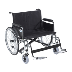 DRVSTD26ECDFA-SF - Drive Medical - Sentra EC Heavy Duty Extra Wide Wheelchair, Detachable Full Arms, Swing away Footrests, 26 Seat