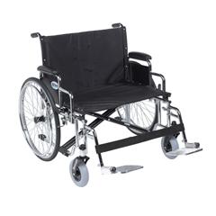 DRVSTD28ECDDA-SF - Drive Medical - Sentra EC Heavy Duty Extra Wide Wheelchair, Detachable Desk Arms, Swing away Footrests, 28 Seat