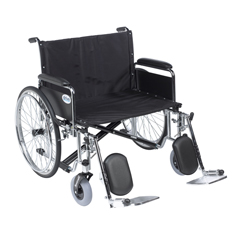 DRVSTD28ECDFA-ELR - Drive Medical - Sentra EC Heavy Duty Extra Wide Wheelchair, Detachable Full Arms, Elevating Leg Rests, 28 Seat