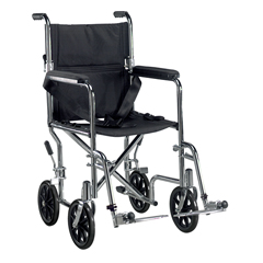 TR19 - Drive MedicalGo Cart Light Weight Steel Transport Wheelchair with Swing Away Footrest