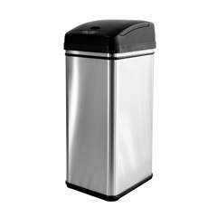 ITODZT13PEA - iTouchlessDeodorizer Filtered 13 Gallon Stainless Steel Touchless Trash Can