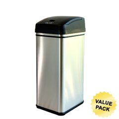 ITODZT13PCS - iTouchlessDeodorizer Filtered 13 Gallon Stainless Steel Touchless Trash Can