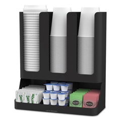 EMSUPRIGHT6BLK - Mind Reader Flume 6-Compartment Upright Coffee Condiment and Cups Organizer