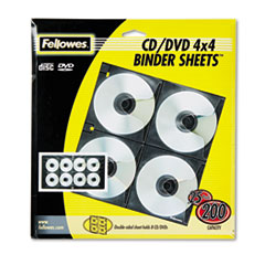 FEL95321 - Fellowes® Polypropylene CD/DVD Protector Sheets for Three-Ring Binders