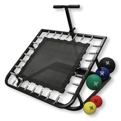 FNT10-3131 - Fabrication Enterprises - Adjustable Ball Rebounder - Set with Rectangular Rebounder, 1-Tier Horizontal Plastic Rack, 5-Balls (1 Each: 2,4,7,11,15 lb)