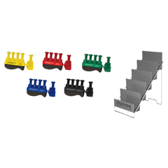 FNT10-3786 - Fabrication EnterprisesDigi-Flex Thumb® - Set of 5 (1 Each: Yellow, Red, Green, Blue, Black), with Metal Stand