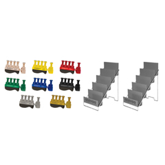 FNT10-3787 - Fabrication EnterprisesDigi-Flex Thumb® - Set of 8 (1 Each: Tan, Yellow, Red, Green, Blue, Black, Silver, Gold), with 2 Metal Stands
