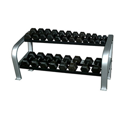 FNT10-7136 - Fabrication EnterprisesInflight®65 Deluxe 2-Tier Hex DB Rack (2 x 4 Oval Tubing) with a 10 Pair (5- 50lb) Rubber Hex Dumbbell Set