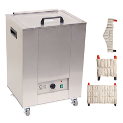 FNT11-1975-3 - Fabrication Enterprises - Relief Pak Heating Unit, 12-Pack Capacity, Mobile with (4) Standard, (4) Neck, (2) Oversize Packs, 220V