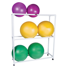 FNT30-1832 - Fabrication EnterprisesInflatable Exercise Ball - Accessory - PVC Mobile Floor Rack, 62 x 20 x 72, 3 Shelf