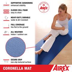FNT32-1238G-EYE - Fabrication Enterprises - Airex Exercise Mat, Coronella 185, 72 x 23 x .6, Green, Eyelets