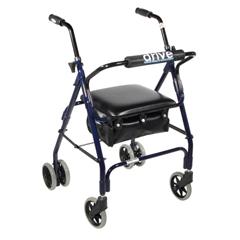 FNT43-2140 - Fabrication Enterprises - 4-Wheel Rollator with Push Brake, Blue, 1 Each