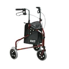 FNT43-2164 - Fabrication Enterprises - 3-Wheel Rollator with Loop Brake, Red, 1 Each