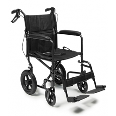 GHIEJ870-1 - GF Health - Deluxe Aluminum 19 Transport Chair with 12 Rear Wheel, Black