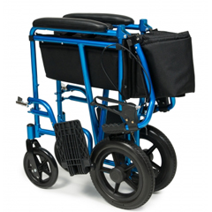 GHIEJ871-1 - GF HealthDeluxe Aluminum 19 Transport Chair with 12 Rear Wheel, Blue