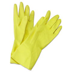 BWK242M - Flock-Lined Latex Cleaning Gloves - Medium