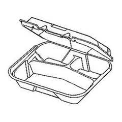 GNP22310 - Foam Hinged Carryout Containers