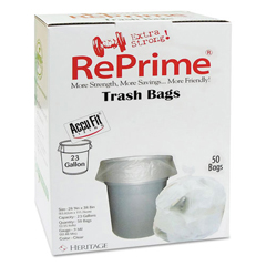 HERH5645TCRC1 - Heritage Bag® RePrime® Can Liners - 28 x 45, Clear