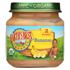 HGR0121632 - Earth's BestOrganic Bananas Baby Food - Stage 2 - Case of 12 - 4 oz.