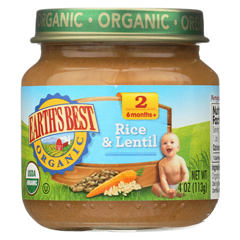 HGR0126961 - Earth's Best - Organic Rice and Lentil Dinner Baby Food - Stage 2 - Case of 12 - 4 oz.