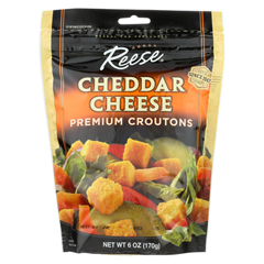 HGR0171892 - Reese - Premium Croutons - Cheddar Cheese - Case of 12 - 6 oz.