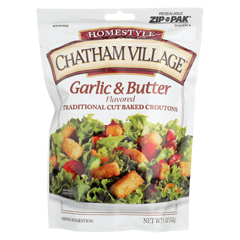 HGR0258228 - Chatham Village - Traditional Cut Croutons - Garlic and Butter - Case of 12 - 5 oz.