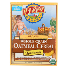 HGR0292789 - Earth's BestOrganic Whole Grain Banana Oatmeal Infant Cereal - Case of 12 - 8 oz.