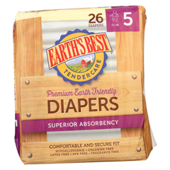 HGR0866442 - Earth's BestTender care Chlorine Free Diapers - Size 5 - Case of 4 - 26 Count