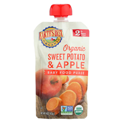 HGR01232347 - Earth's Best - Organic Sweet Potato Apple Baby Food Puree - Stage 2 - Case of 12 - 4 oz.