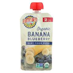 HGR01232370 - Earth's Best - Organic Banana Blueberry Baby Food Puree - Stage 2 - Case of 12 - 4 oz.