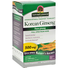HGR0123877 - Nature's AnswerKorean Ginseng Root - 50 Vegetarian Capsules