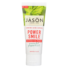 HGR01252568 - Jason Natural ProductsToothpaste - Powersmile - Antiplaque and Whitening - Powerful Peppermint - Fluoride-Free - 3 oz. - case of 12