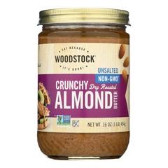 HGR0125302 - Woodstock - Unsalted Crunchy Almond Butter - Case of 12 - 16 oz..