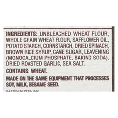 HGR01517127 - Back To NatureSpinach and Roasted Garlic Crackers - Spinach, Roasted Garlic and Sea Salt - Case of 6 - 6.5 oz.