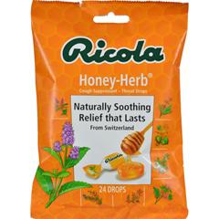 HGR0161653 - RicolaHerb Throat Drops Honey Herb - 24 Drops - Case of 12