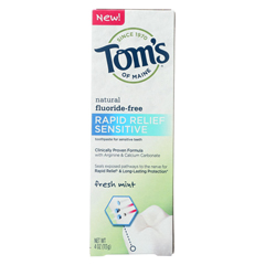 HGR01776871 - Tom's Of Maine - Rapid Relief Sensitive Toothpaste - Fresh Mint, Fluoride-Free - Case of 6 - 4 oz.