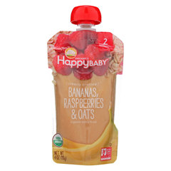 HGR01796929 - Happy BabyClearly Crafted - Bananas, Raspberries and Oats - Case of 16 - 4 oz.
