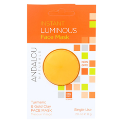 HGR01800572 - Andalou NaturalsInstant Luminous Face Mask - Turmeric & Gold Clay - Case of 6 - 0.28 oz.