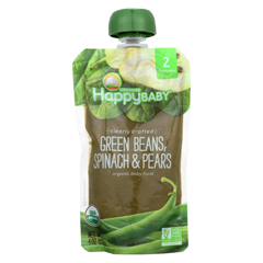 HGR01909993 - Happy Baby - Organic Stage 2 Baby Food - Banana - Spinach - Pears - Case of 16 - 4 oz.