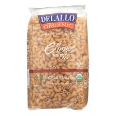 HGR0206045 - Delallo - 100% Organic Whole Wheat #52 Elbows - Case of 16 - 1 lb.
