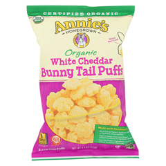 HGR02087765 - Annie's HomegrownOrganic Cheese Puffs - White Cheddar Bunny Tails - Case of 12 - 4.3 oz.
