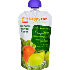 HGR0209791 - Happy BabyHappyTot Organic Superfoods Spinach Mango and Pear - 4.22 oz - Case of 16