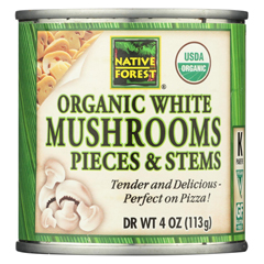HGR0269936 - Native Forest - Organic Mushrooms - Pieces and Stems - Case of 12 - 4 oz..