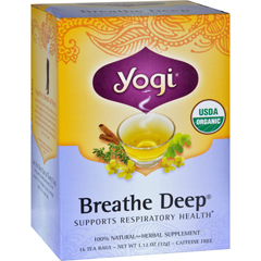 HGR0354993 - Yogi Teas - Organic Breathe Deep Herbal Tea Caffeine Free - 16 Tea Bags - Case of 6